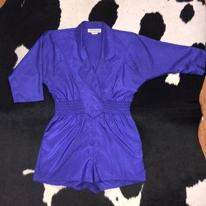 Vintage 80's Joan Walters purple short jumpsuit